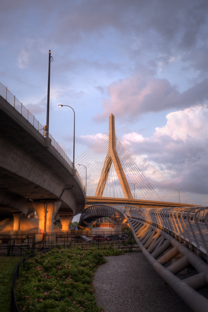 zakim bridge, boston, massachusetts, sunset, united states, america, usa,