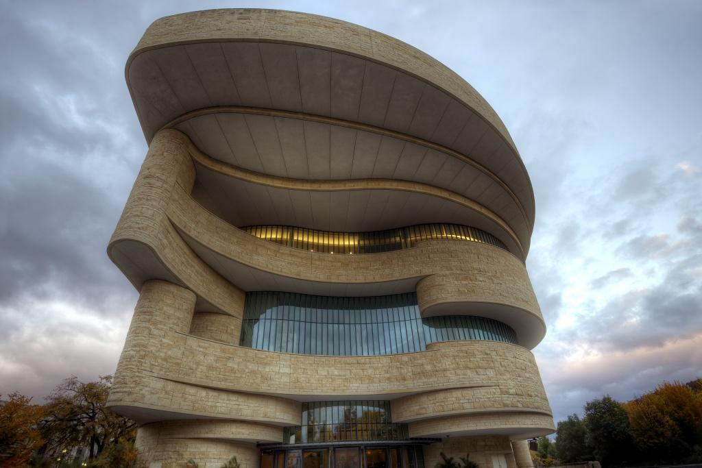 smithsonian, museum, american indian, architecture, sunrise, clouds, washington dc, america, usa, travel
