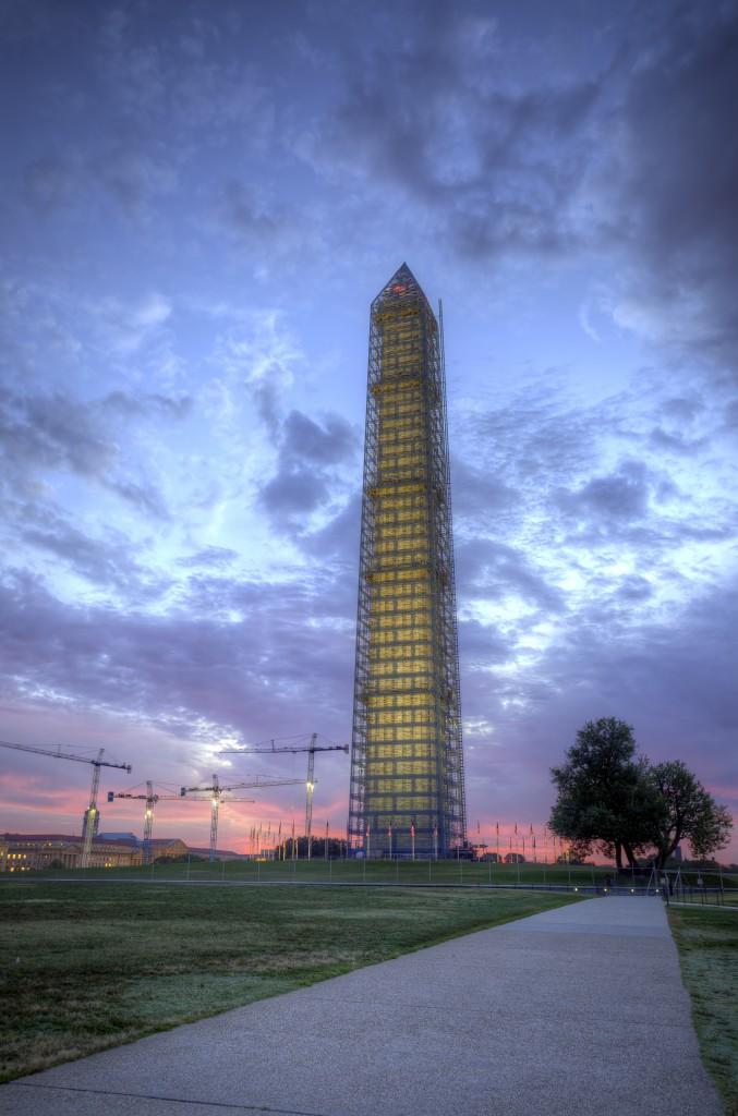 washington monument, washington dc, travel, sunrise, scaffold, clouds, path, hdr,