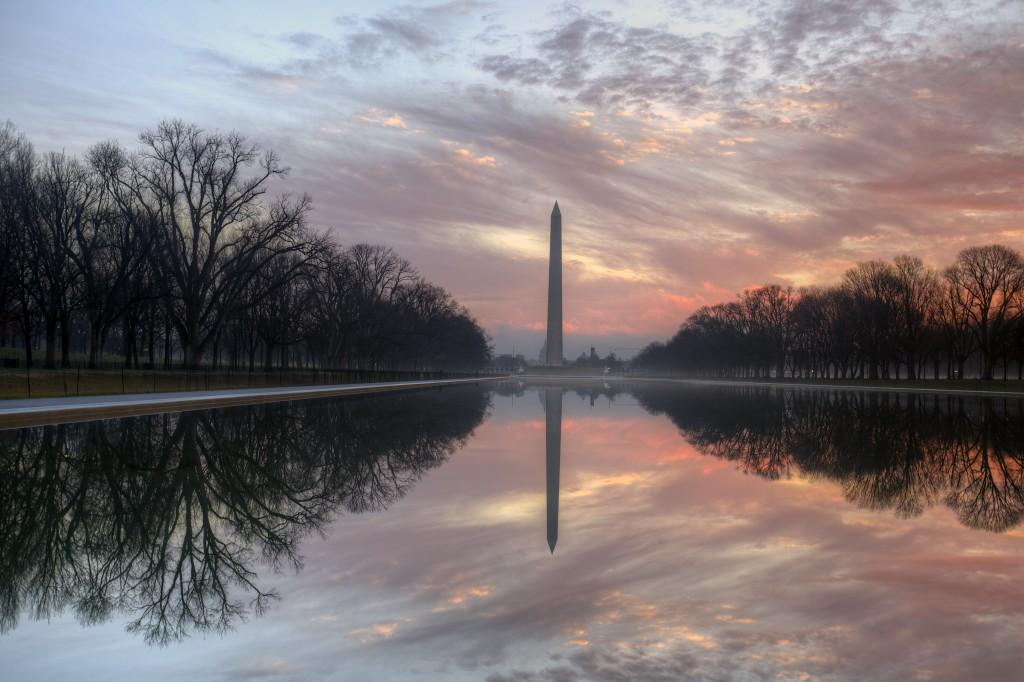 reflecting pool, sunrise, reflection, monument, washington monument, washington dc, travel, united states, usa, america