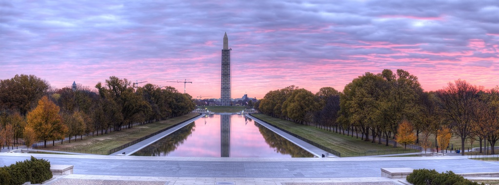reflection pool, sunrise, lincoln memorial, washington dc, travel, washington monument, pink