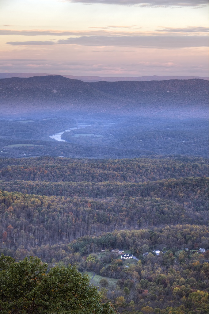 shenandoah, mountains, sunrise, valley, trees, autumn, virginia, skyline drive, va, landscape, travel