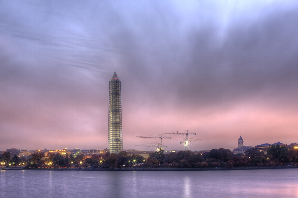 washington monument, washington dc, construction, scaffolding, sunrise, purple, pink, angela b pan, abpan, travel, capitol, tidal basin
