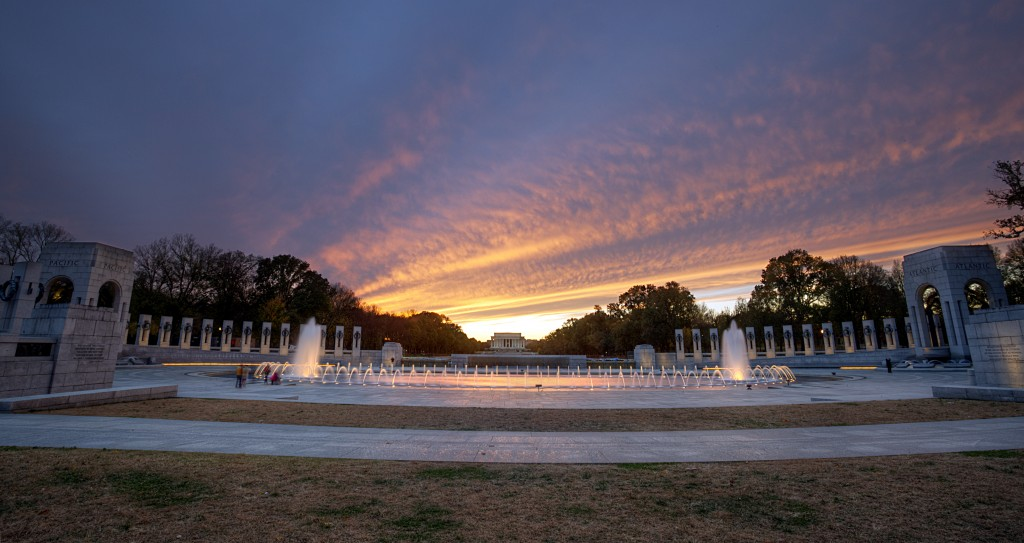 wwii, memorial, sunset, lincoln, memorial, fountain, clouds, washington dc, travel, america, usa, united states