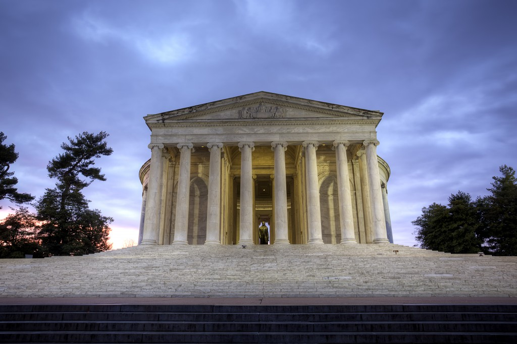 jefferson memorial, dc, sunrise, stairs, columns, architecture, washington dc, trees, clouds, capital, united states, usa, travel