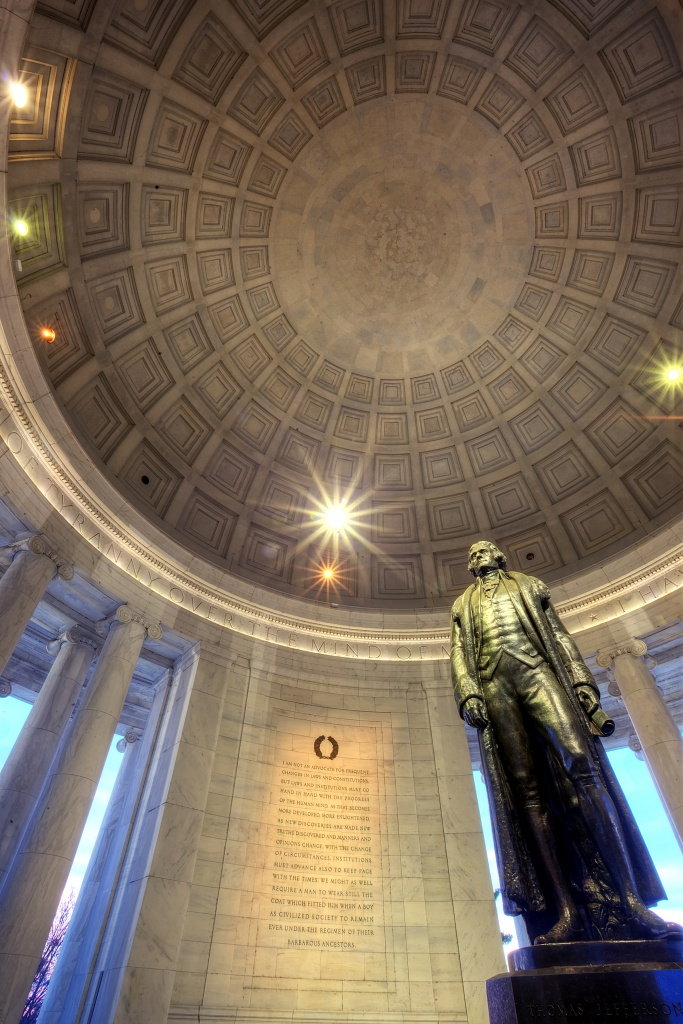 thomas jefferson, jefferson memorial, washington dc, statute, light burst, memorial