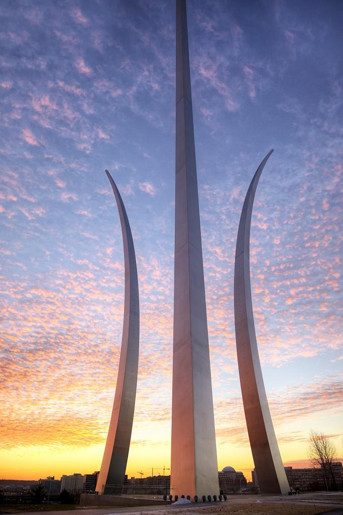 air force memorial, sunrise, arlington, va, virginia, memorial, travel, clouds, angela b pan, abpan, united states, usa