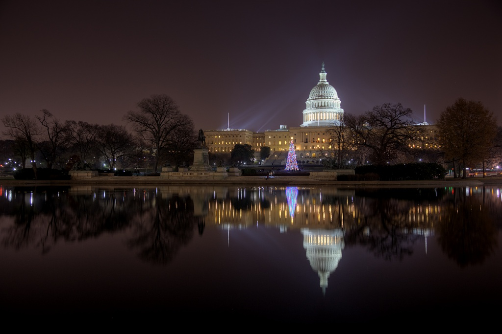 capitol, christmas tree, lights, night, dusk, reflection, reflecting pool, capitol building