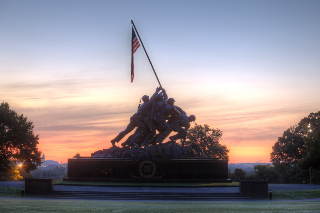 iwo jima, sunrise, statue, military, american flag, washington dc, arlington, va, virginia, marine corps