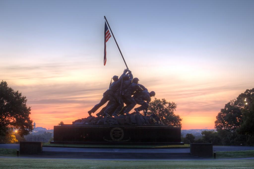 iwo jima, sunrise, statue, military, american flag, washington dc, arlington, va, virginia, marine corps