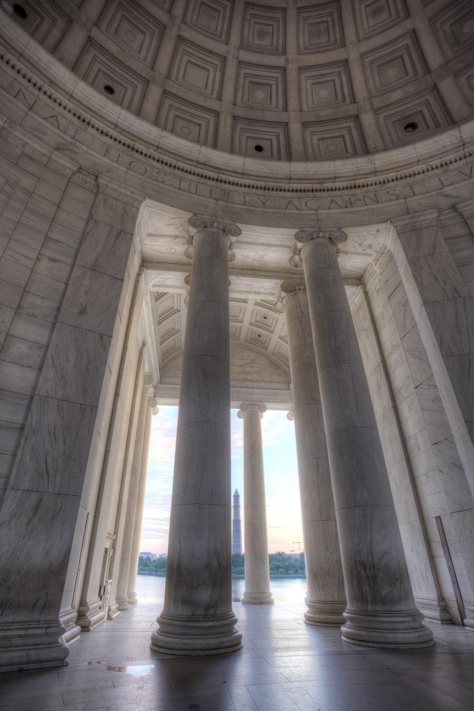 jefferson memorial, columns, monument, sunrise, washington dc, travel, architecture