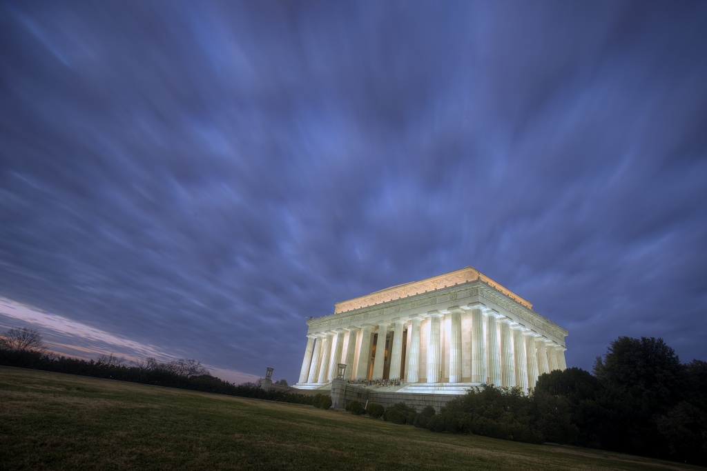 lincoln memorial, sunrise, clouds, hdr, travel, landscape, washington dc