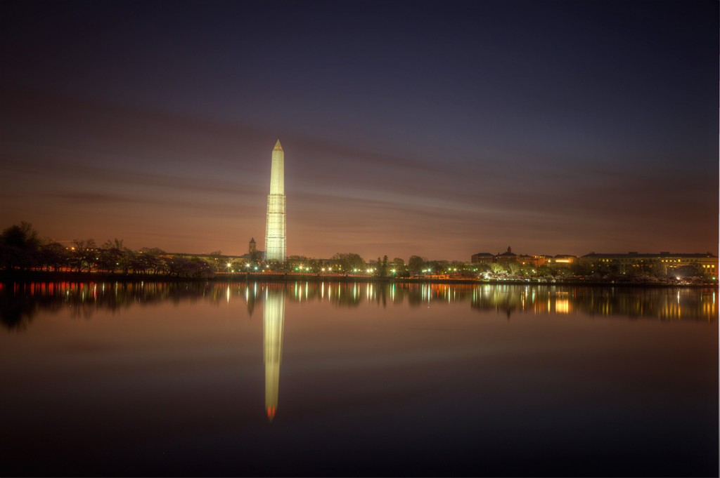 Washington Monument, dawn, sunrise, tidal basin, reflection, streaks, sky