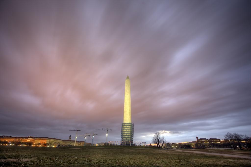 storm, dc, washington dc, washington monument, rain, sunrise, clouds, scaffolding