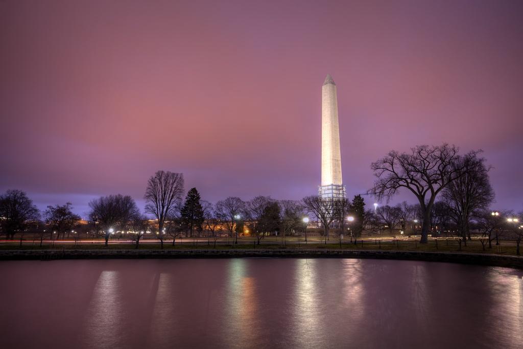 monument, storm, rain, clouds, sunrise, reflection, washington dc, washington monument, pink