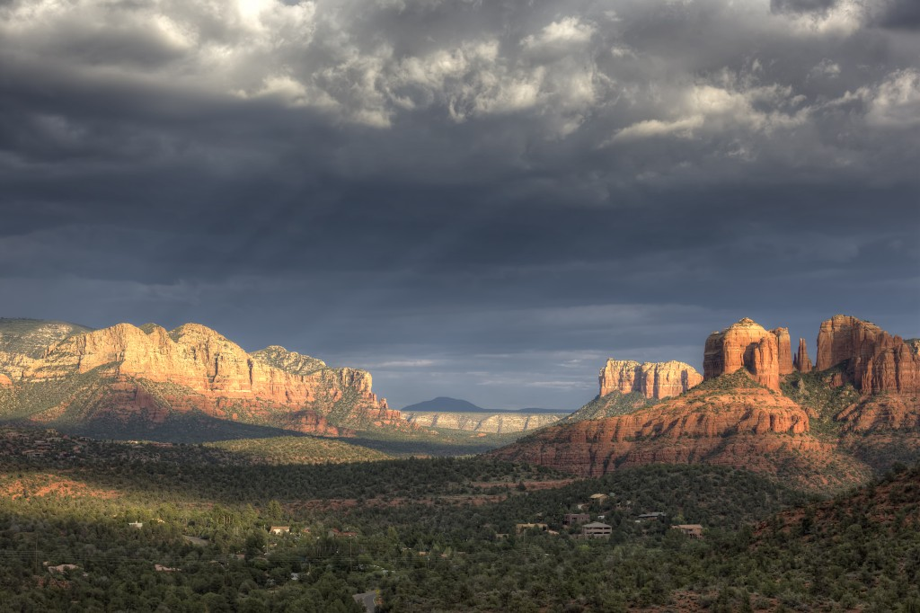 arizona, travel, sedona, red rocks, clouds, light, sun, az, sunset