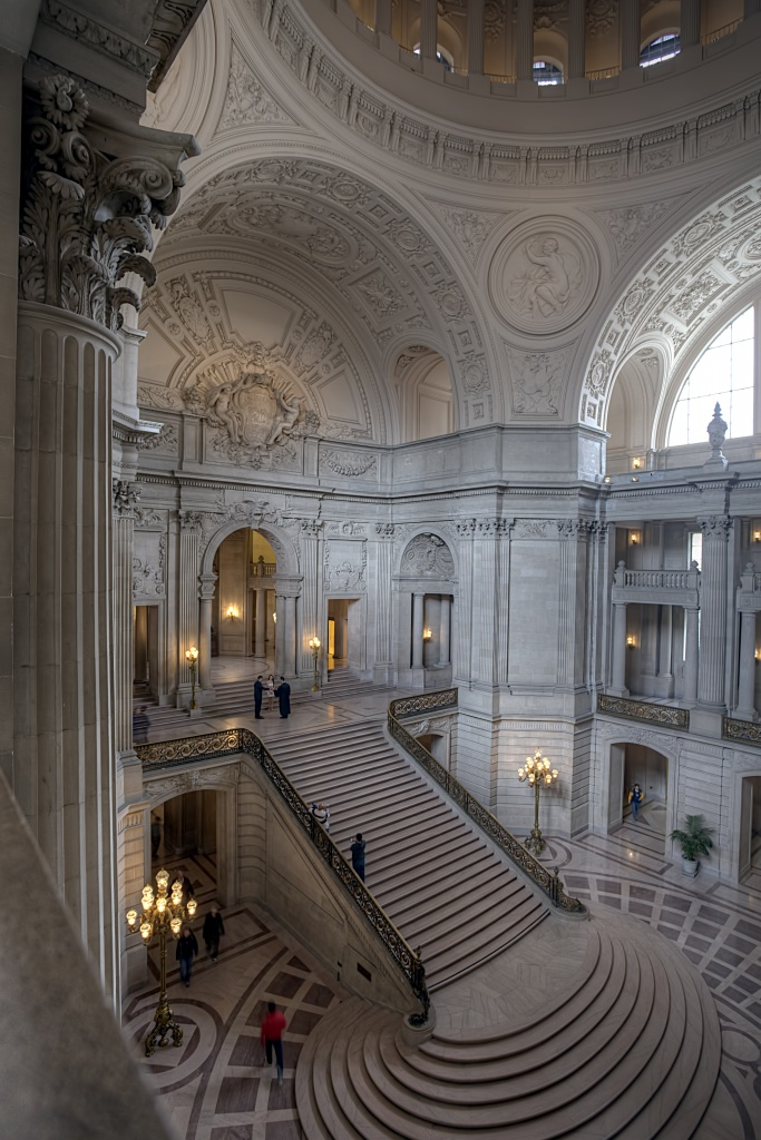 san francisco, city hall, stairs, interior, architecture, marriage, married, california, cali, ca, usa, united states, america