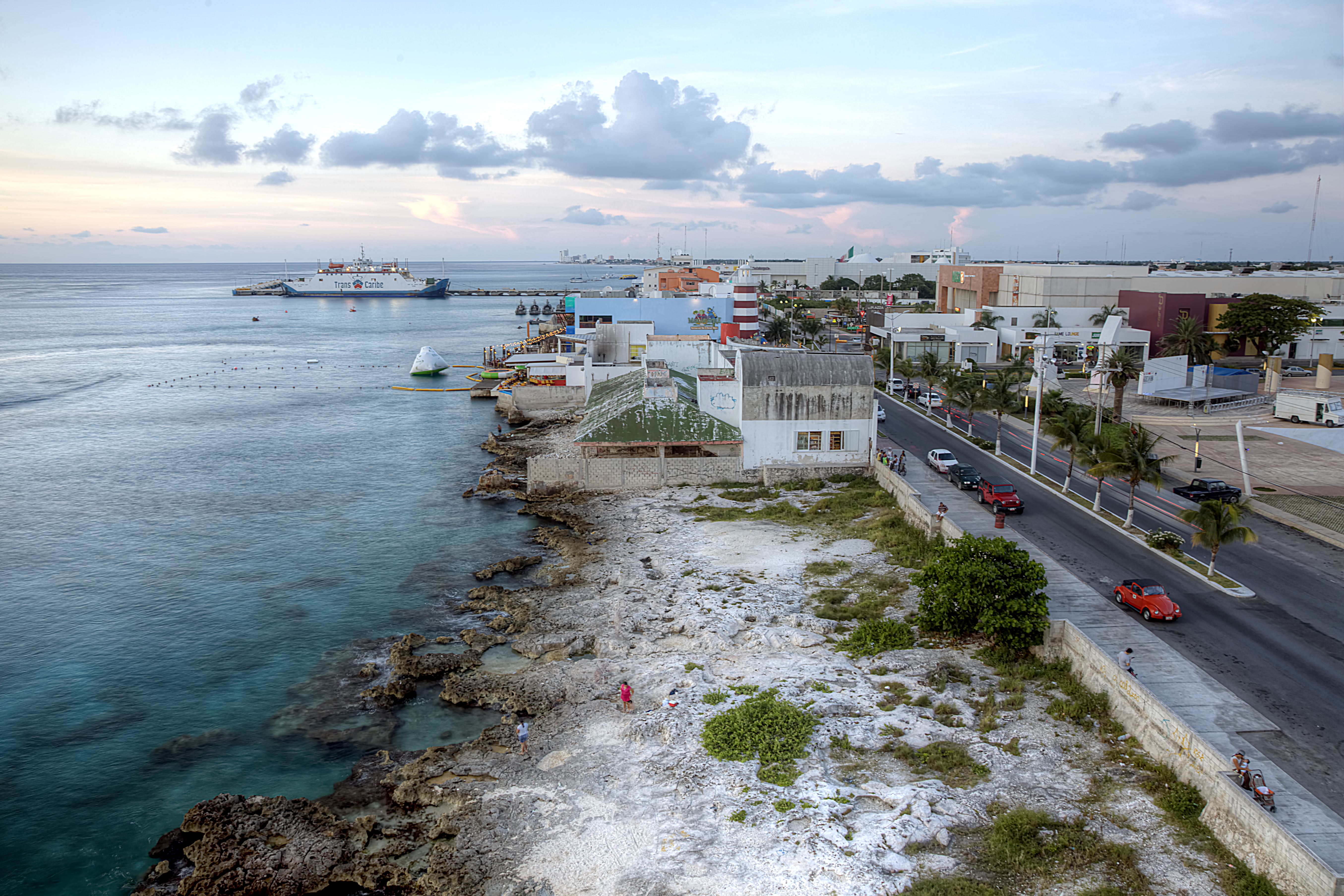 Cozumel Mexico Sunset Beach Strip Street People Water Travel Mx
