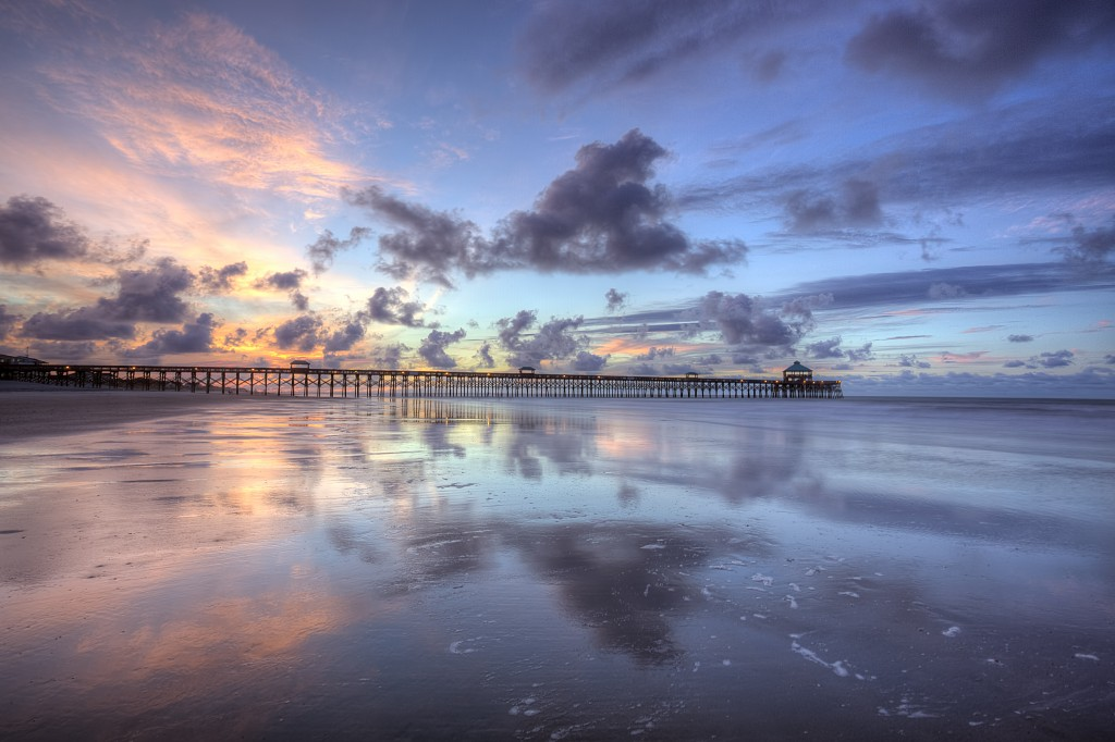 folly beach, south carolina, summer, sunrise, beach, clouds, reflection, travel