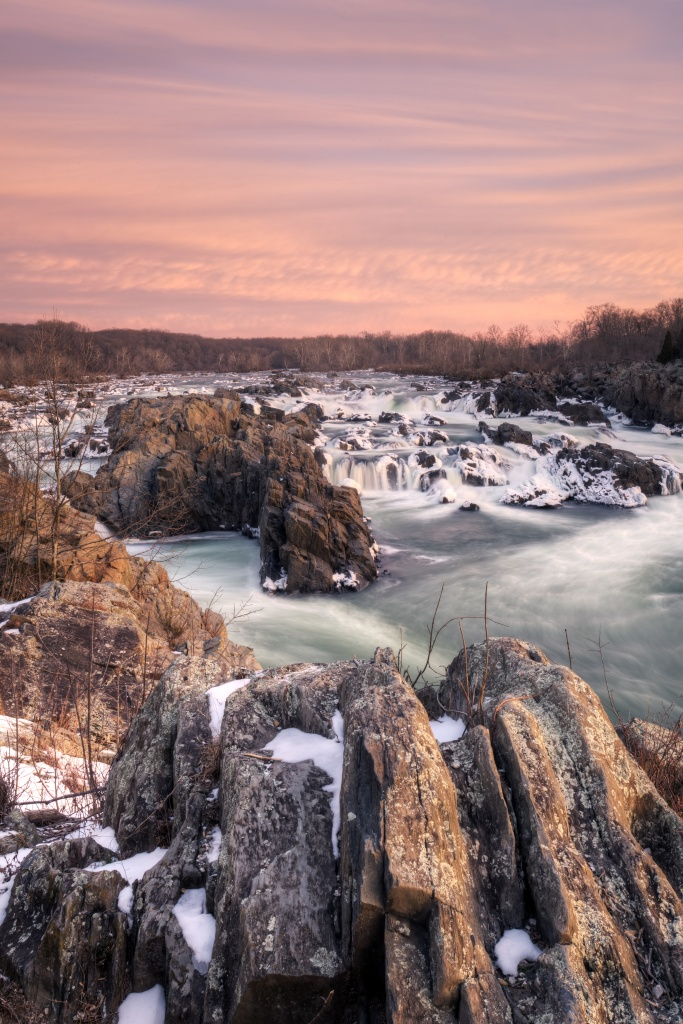 great falls, snow, early morning, sunrise, mather gorge, virginia, va, pink, landscape