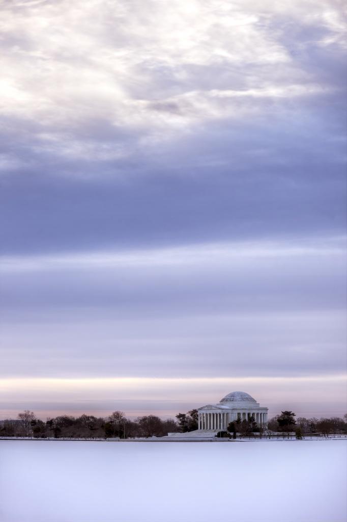 jefferson memorial, washington dc, tidal basin, snow, ice, sunrise, clouds, blue, travel, washington dc,