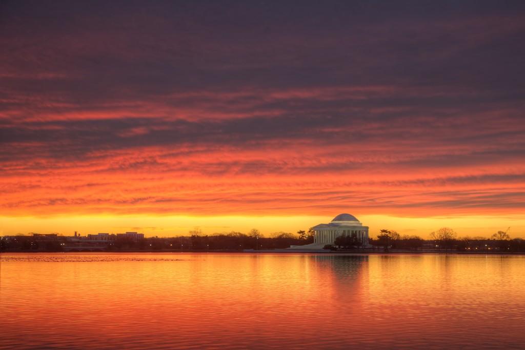 jefferson memorial, sunrise, tidal basin, clouds, weather, washington dc, travel, hdr