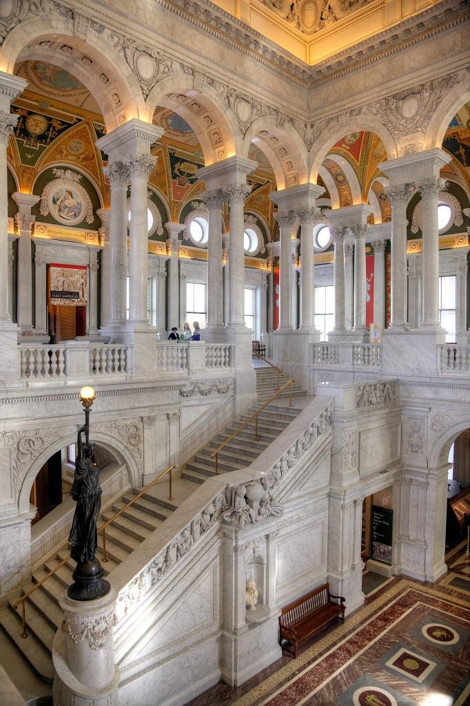 library of congress, loc, washington dc, columns, stairs, architecture, interior,