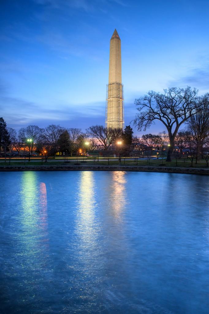 washington monument, washington dc, reflecting, bridge, scaffolding, blue