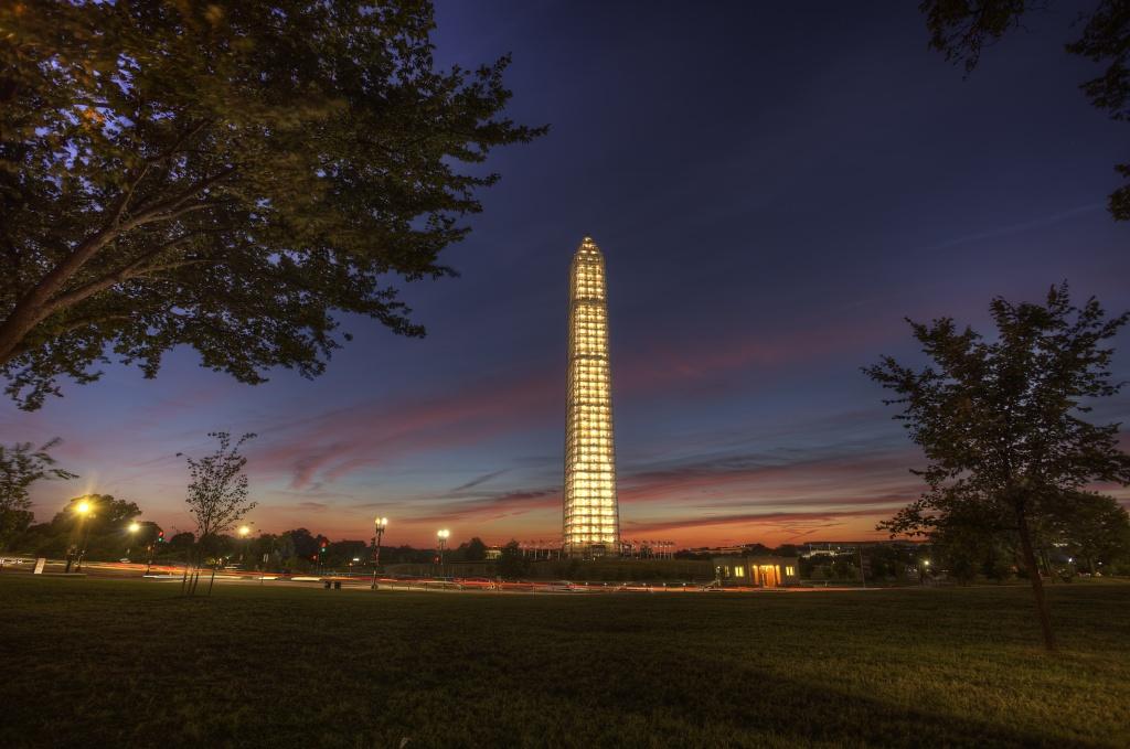 dusk, sunset, washington monument, tree, scaffolding, dc, abpan, travel,