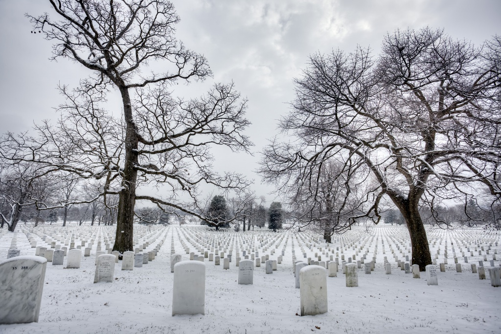 arlington national cemetery, snow, trees, winter, virginia, va, grave, hallowed ground, tombstones