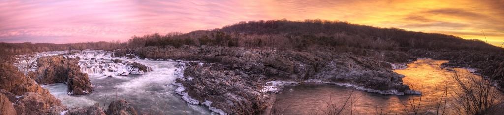 great falls park, sunrise, virginia park, falls, panoramic, va, travel,