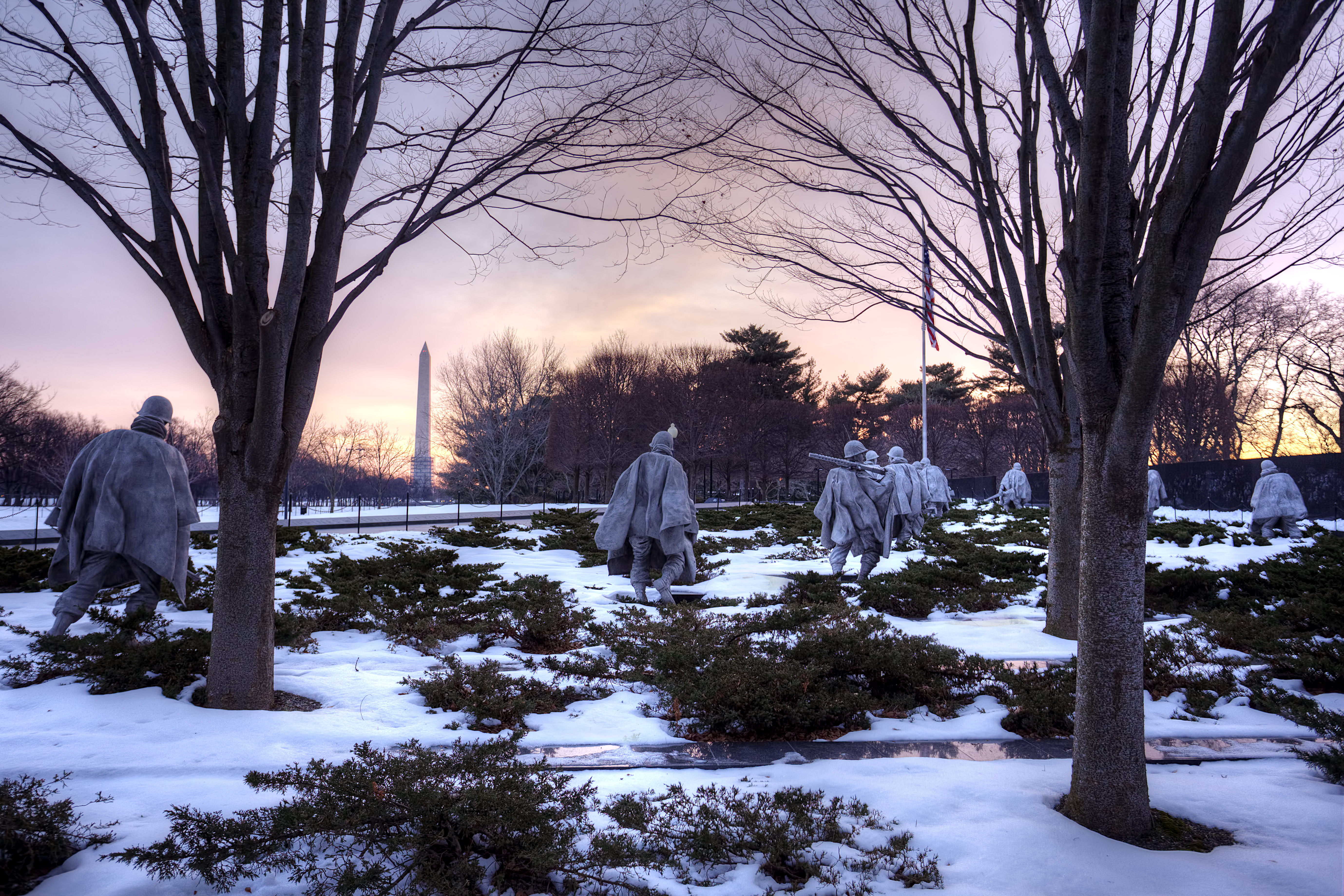 korean war memorial, washington dc, sunrise, early morning, snow, winter, travel, washington monument, trees, united states, usa, korean war