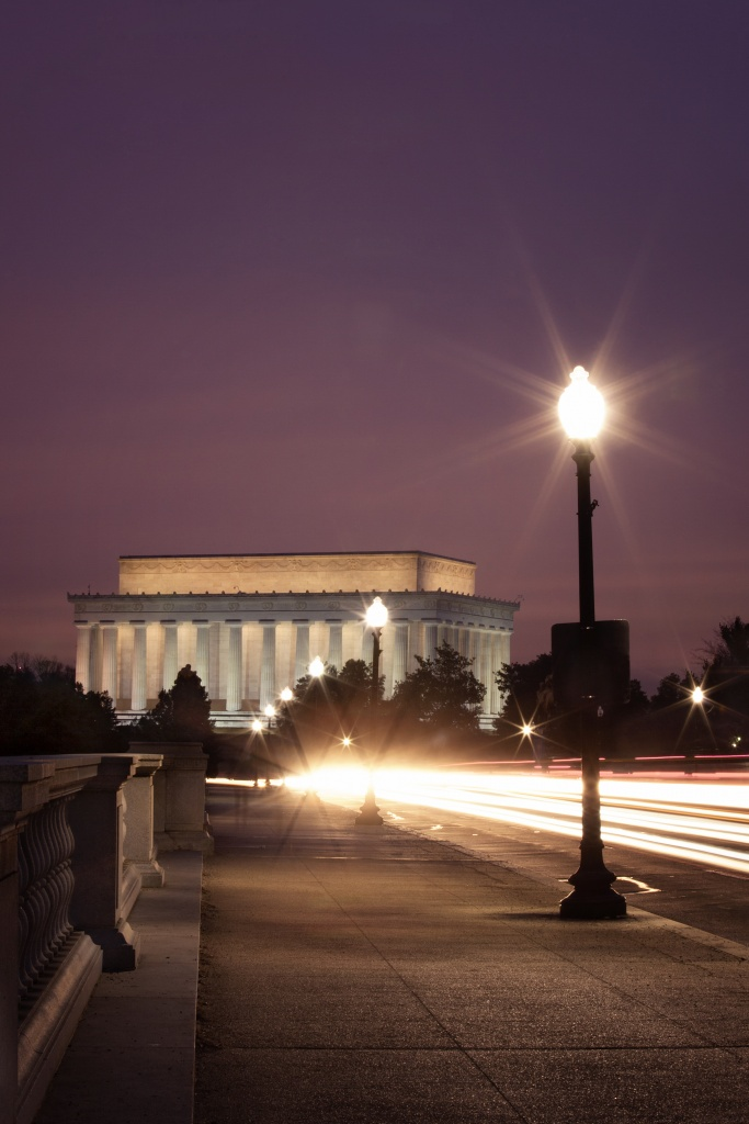 memorial bridge, arlington, virgina, washington dc, lincoln dc, traffic, light streaks, bridge, lincoln memorial, sunrise, early morning, travel, united states