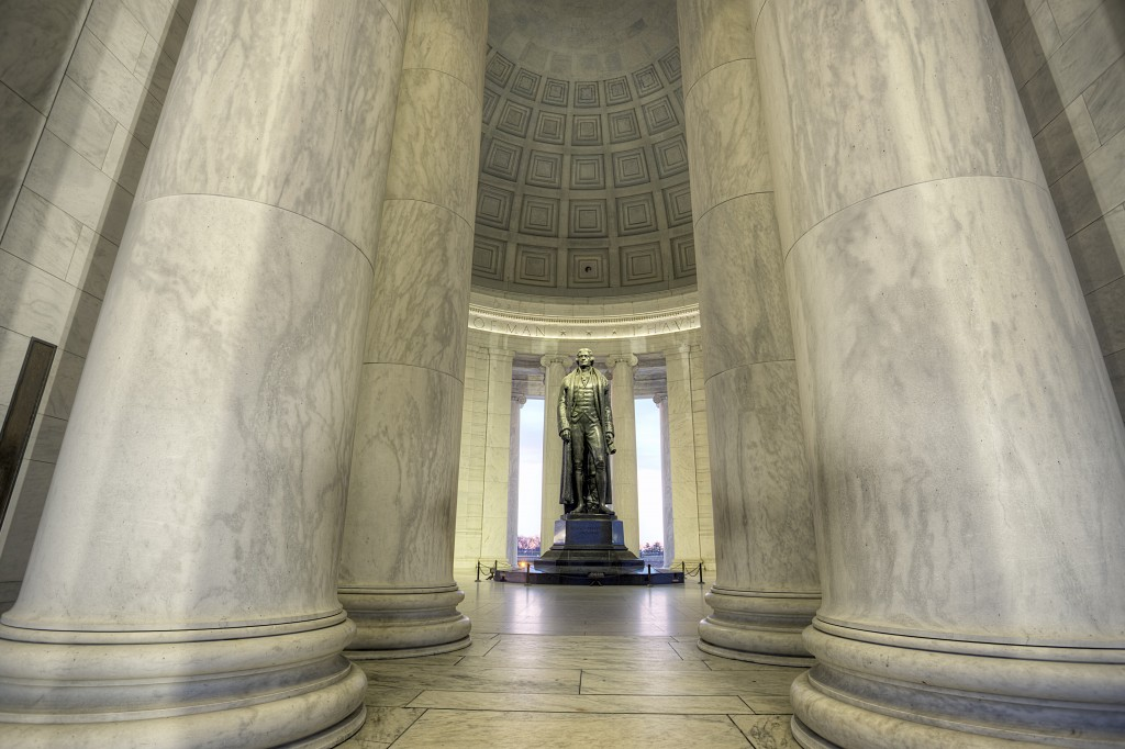 jefferson, thomas jefferson, president, memorial, columns, washington dc, sunrise, travel,