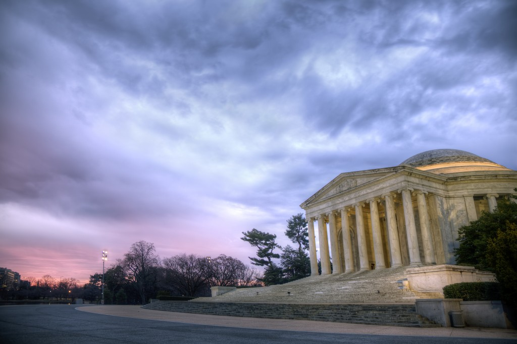 jefferson, memorial, thomas jefferson, washington dc, tidal basin, sunrise, clouds, color, sky, rain, weather, travel, washington dc, columns, stairs, hdr, photography, photo