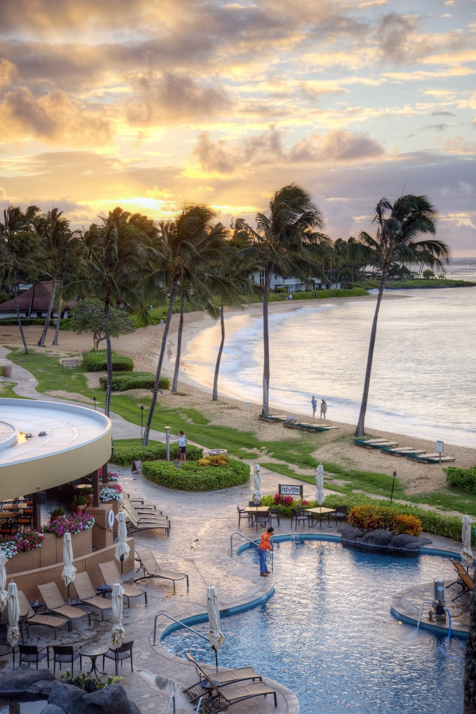 kauai, sheraton, starwood, balcony, sunrise, palm trees, beach, pool, travel, vacation, warm weather, palm trees, hotel,