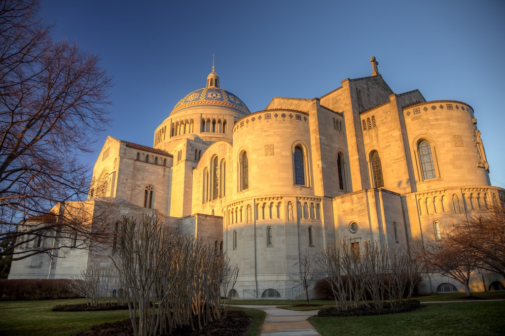 Basilica of the National Shrine of the Immaculate Conception, washington dc, sunrise, travel, landscape, light