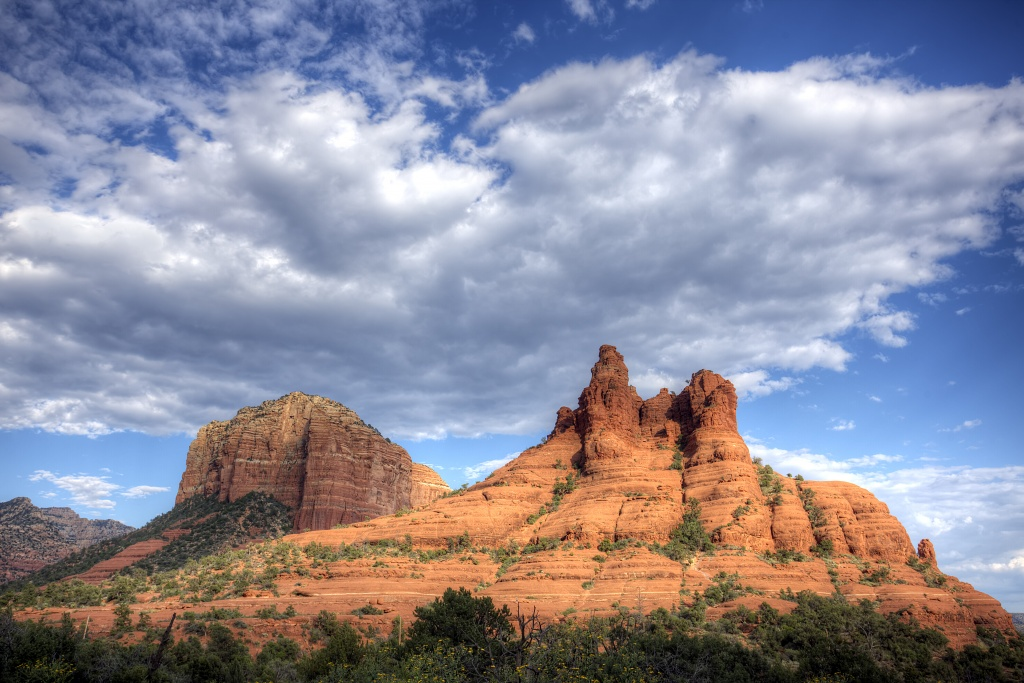 sedona, arizona, capitol butte, clouds, travel, red rocks