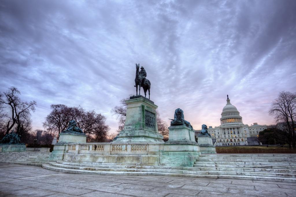 ulysses s grant, capitol, statue, washington dc, clouds, sunrise,