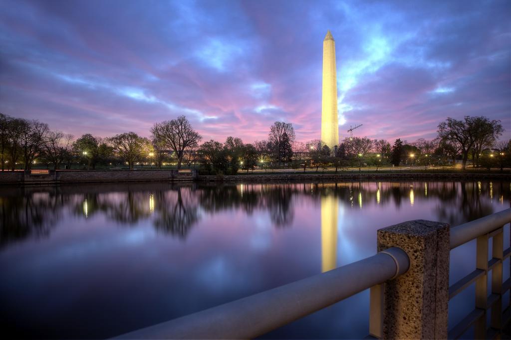 kutz bridge, washington monument, sunrise, reflection, bridge, washington dc, pink, weather, sky,