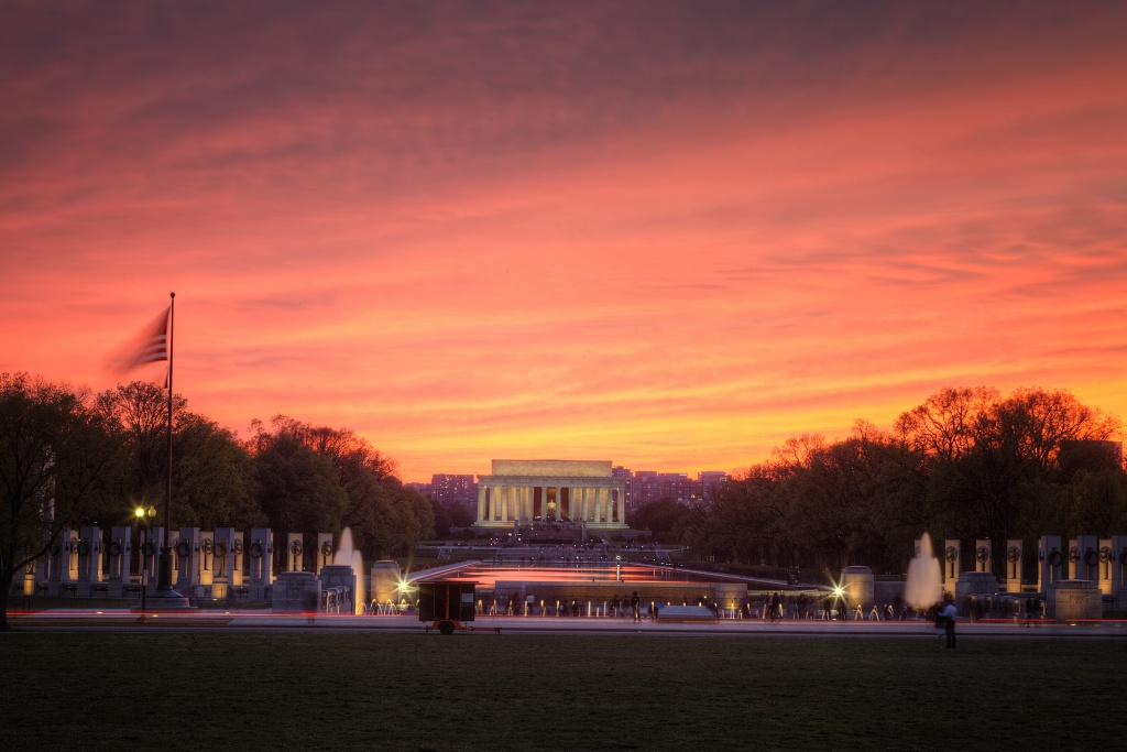 lincoln memorial, sunset, wwii memorial, washington dc, travel, sky, orange, sunset, landscape, hdr, water fountain