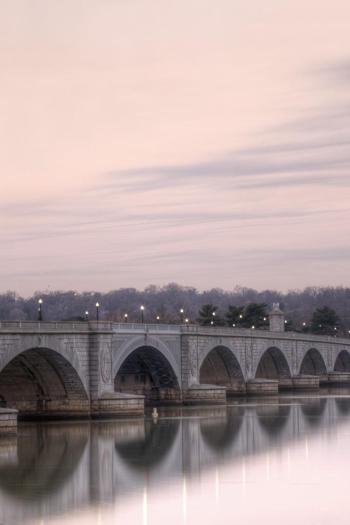 memorial bridge, arlington, reflection, sunrise, washington dc, bridge, potomac,