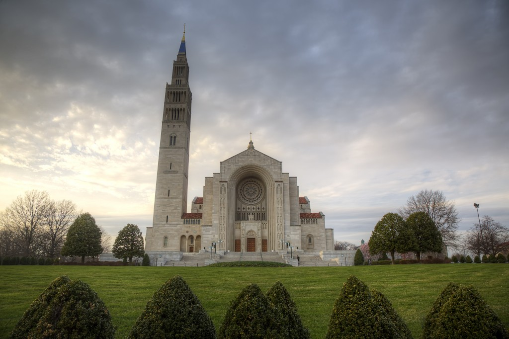 national shrine, catholic, catholic university, washington dc, south east, se, dc, sunset, religious, clouds, weather, travel, Basilica of the National Shrine of the Immaculate Conception