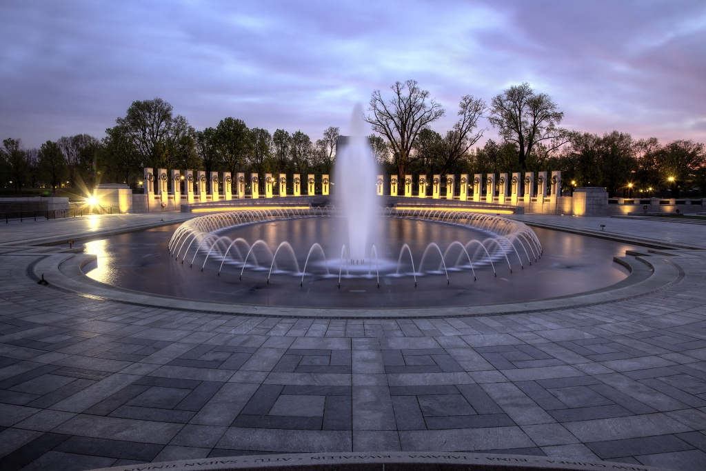 wwii, memorial, fountain, columns, architecture, memorial, wwii, war, washington dc, sunrise