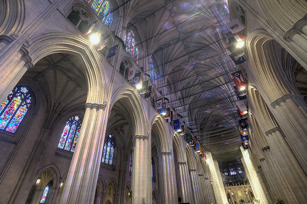 national cathedral, nets, construction, columns, interior, architecture, washington dc