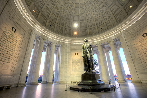 jefferson, interior, architecture, columns, reflection, statue, jefferson, dome, memorial, sunrise