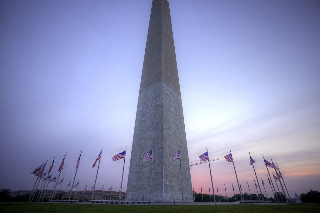washington monument, pencil, monument, tallest building in dc, washington dc, sunrise, flags, american flags, weather, architecture, landscape, cityscape, angela b pan