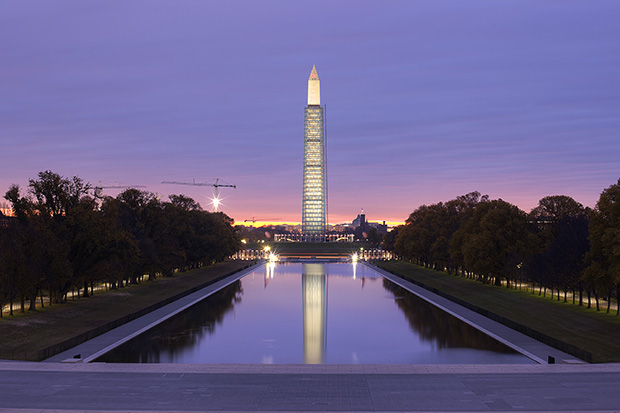 ‪#‎WaMoReopening, washington monument, sunrise, reflecting pool, purple, scaffolding, reopening, ceremony