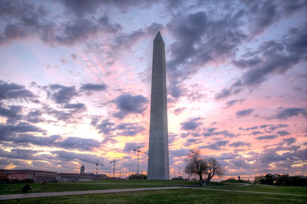 washington monument, sunrise, clouds, washington dc, weather, grass, landscape,