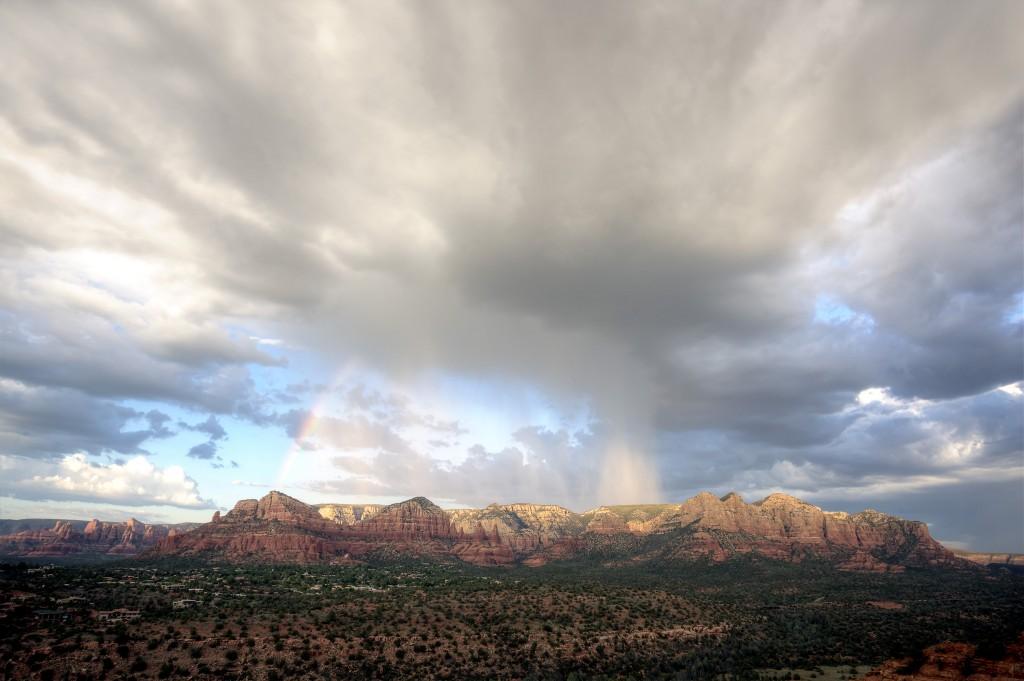 rain, rainbow, clouds, sedona, arizona, az, red rocks, travel, landscape, clouds